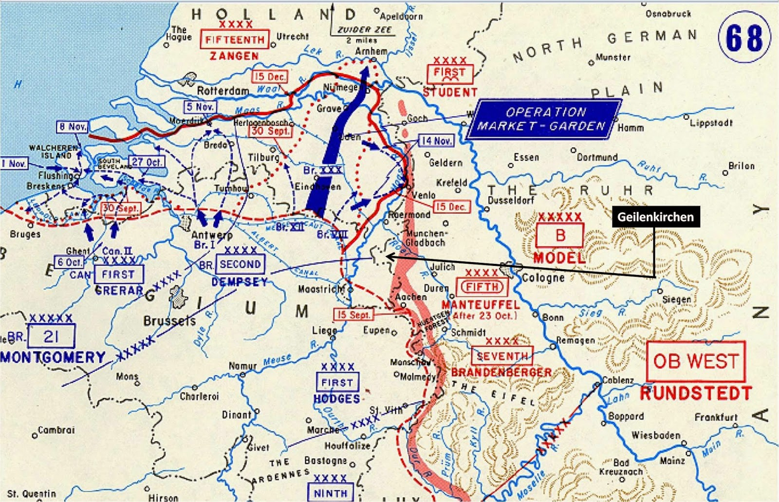Advances made by the 21st Army Group between September and December 1944