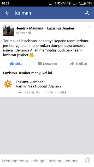 Ucapan terima kasih dari Hendrik Maulana Wiwaha untuk seluruh Team Lazismu Jember