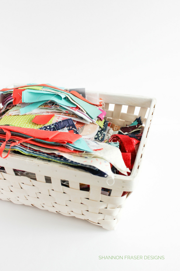 Basket of fabric scraps | Q4 2018 FAL | Shannon Fraser Designs