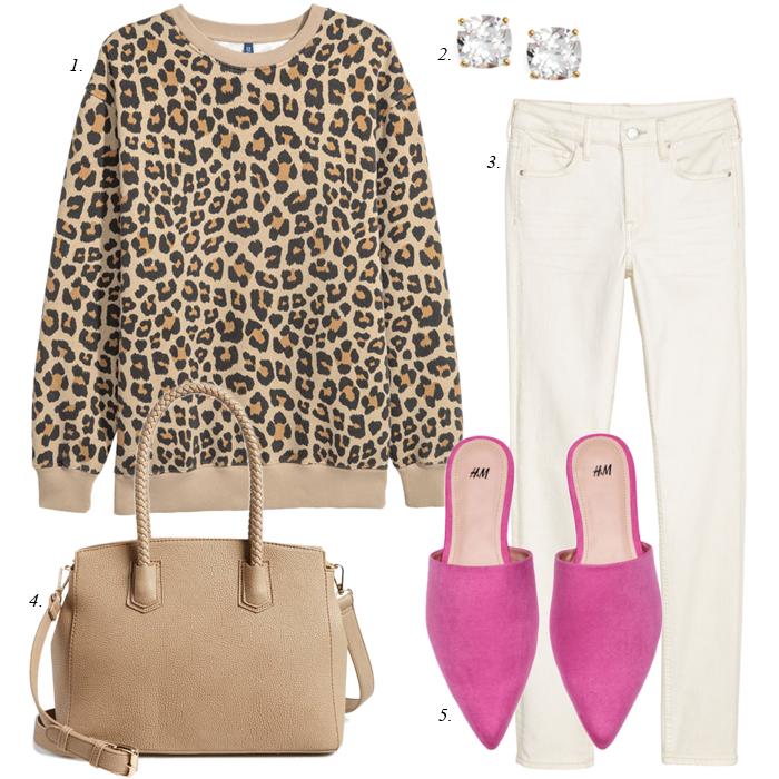 pink mules, leopard sweatshirt, white skinny jeans