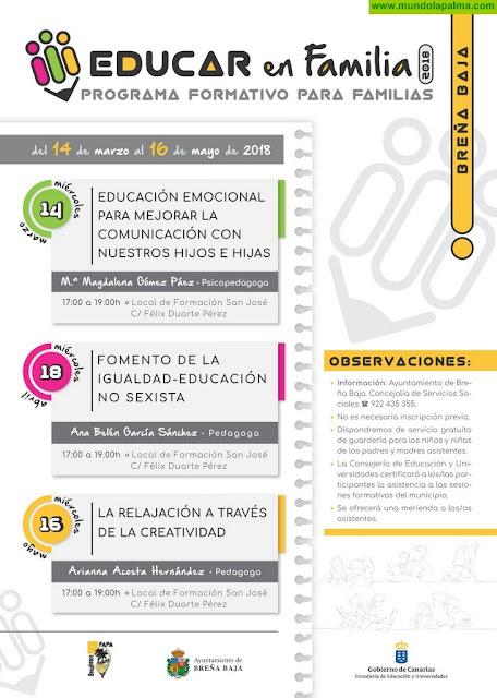 """El Ayuntamiento de Breña Baja pone en marcha el programa formativo """"Educar en Familia"""""""