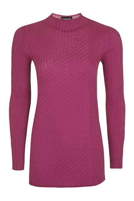 pink ribbed polo neck topshop