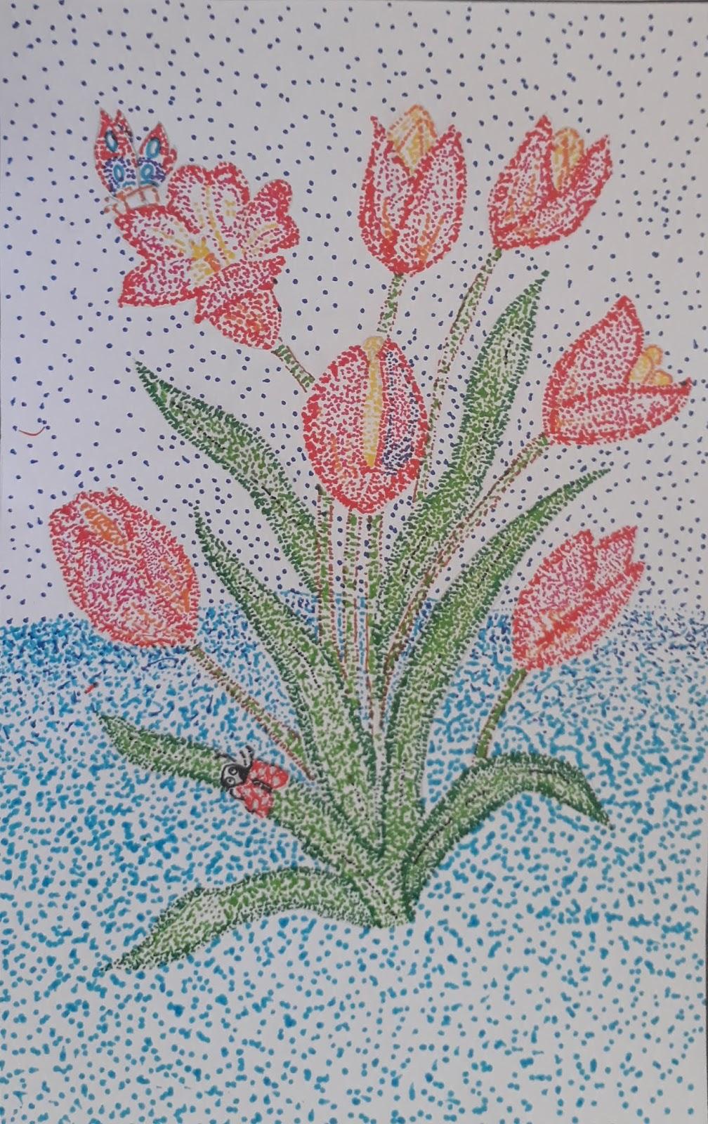 Cantik Contoh Gambar Bunga Pointilis Bunga Hias