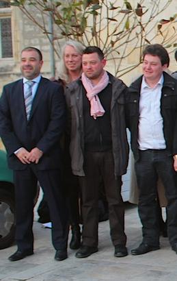 1cd5a9779858 Photo prise en 2014   de gauche à droite, Christophe Cabri, Tuula Hannele  Lahdelma, Alexandre Bezault et Julien Glémet