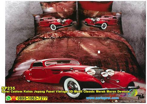 Sprei Custom Katun Jepang Panel Vintage 3D Mobil Classic Merah Marun Dewasa