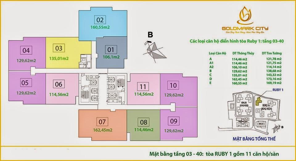 Mặt bằng căn hộ tòa Ruby 1 chung cư Goldmark City