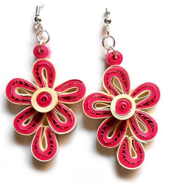 Trendy Long and Small Flower Quilling Paper Earrings For Kids - Quilling designs