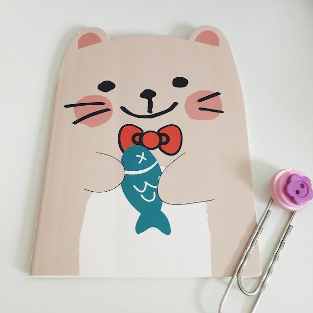 Kawaii Animal Die-Cut Lined Notepad Pink Kitty