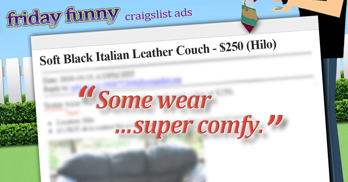 Leather couch, 'some wear' - FUNNY CRAIGSLIST AD