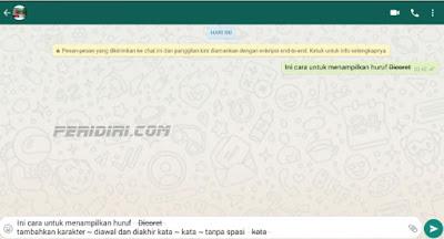 Memberi Coretan (Strikethrough) Pada Tulisan pada Whatsapp