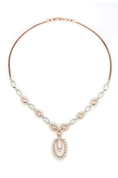 Entice Alina Collection_ All diamond necklace in rose gold