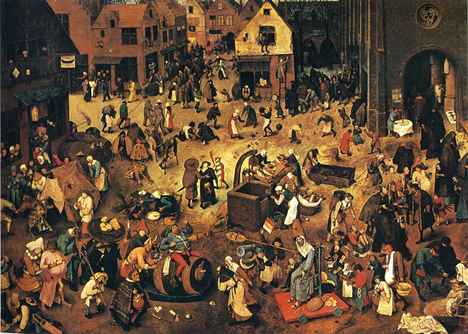 A Luta entre o Carnaval e a Quaresma - Pieter Bruegel | Pinturas com o tema: Carnaval