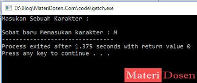 contoh program menggunakan fungsi getch