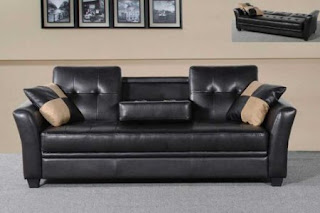 One New Storage Cup Holder Futon Black Leather Sofa Bed