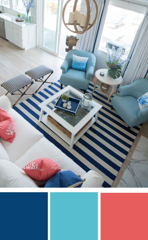 Blue Salmon Coral Color Palette Coastal Living Room Decor Idea