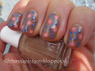 Essie Cocoa Karma with dots of Suite Retreat, Stones 'n Roses & Time for Me Time