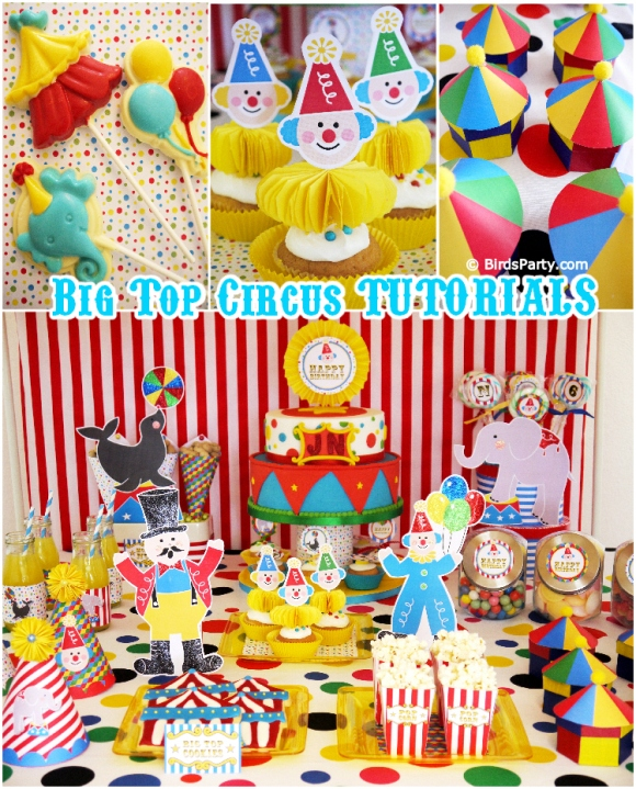 Big Top Circus Birthday | DIY Little Clown Cupcakes - BirdsParty.com