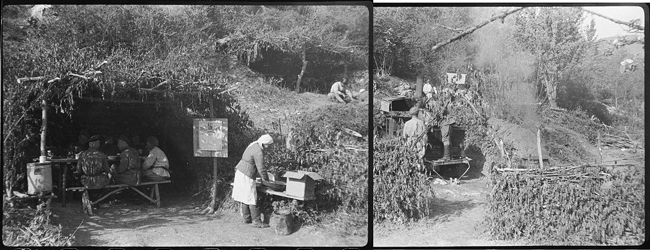 Пищеблок 142-й мотострелковой бригады восточнее селения Шули. Справа — столовая для офицерского состава. Слева — кухня, наверху — столовая для рядового и сержантского состава. 8 мая 1944 года