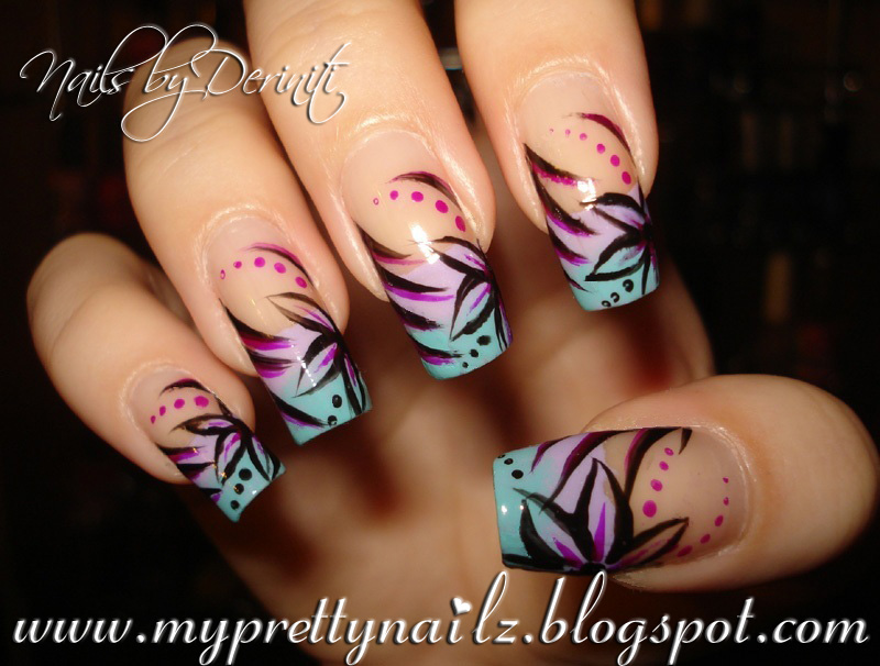 My Pretty Nailz: OMBRE TIPS WITH HAND PAINTED FLOWER ...