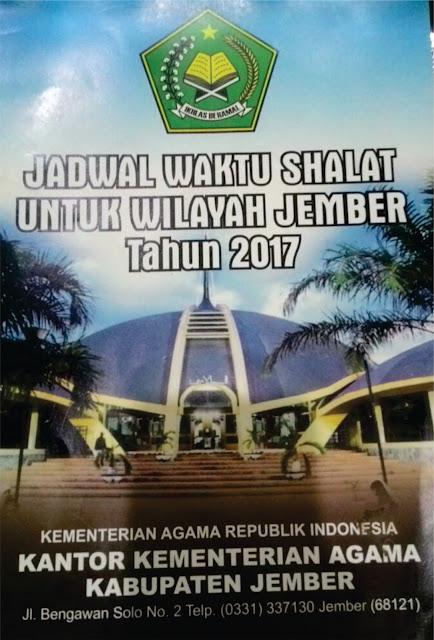 Sumber Jadwal Sholat 2017 dari Kementrian Agama Kab. Jember