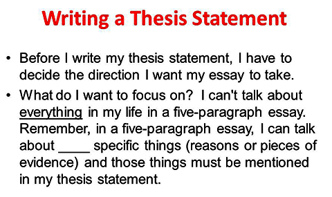 Decide on a thesis