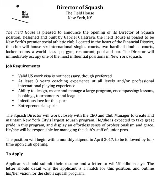 letter of application for coaching position