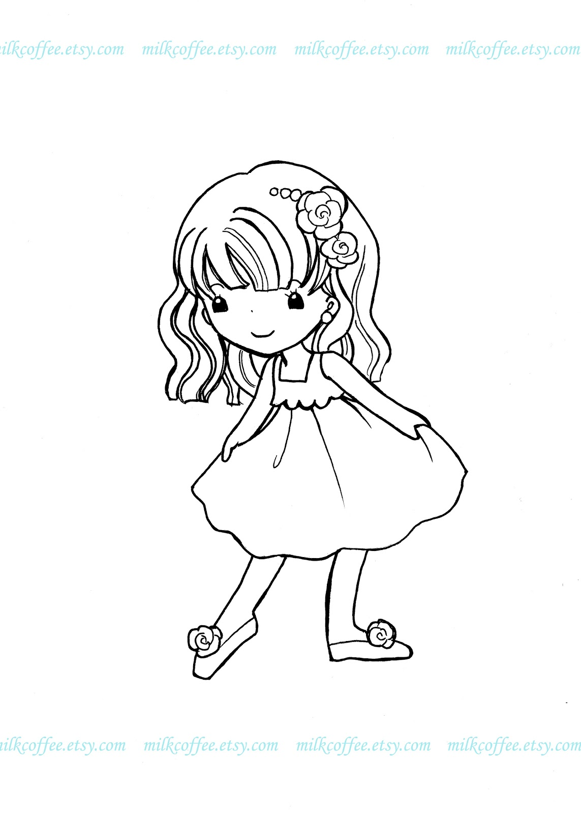 coloriage de petite fille | Liberate