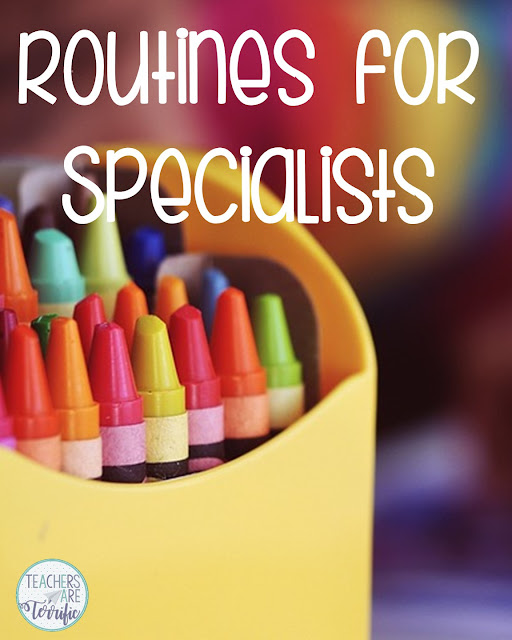 Specialists need to really work on those classroom routines and procedures because of the limited time students are in their classrooms. Check this blog post or a few ideas!