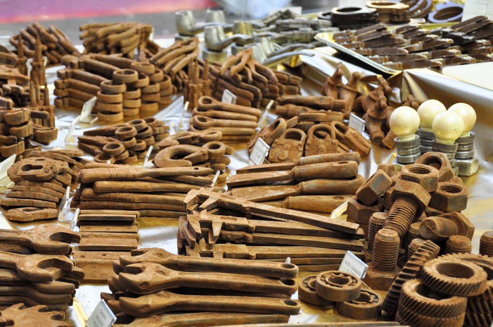Tools made of chocolate, Chocolate Festival, Piazza dei Signori, Vicenza, Veneto, Italy