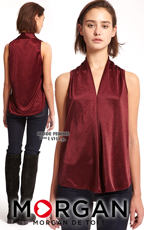 Top satin fluide sans manches bordeaux MORGAN