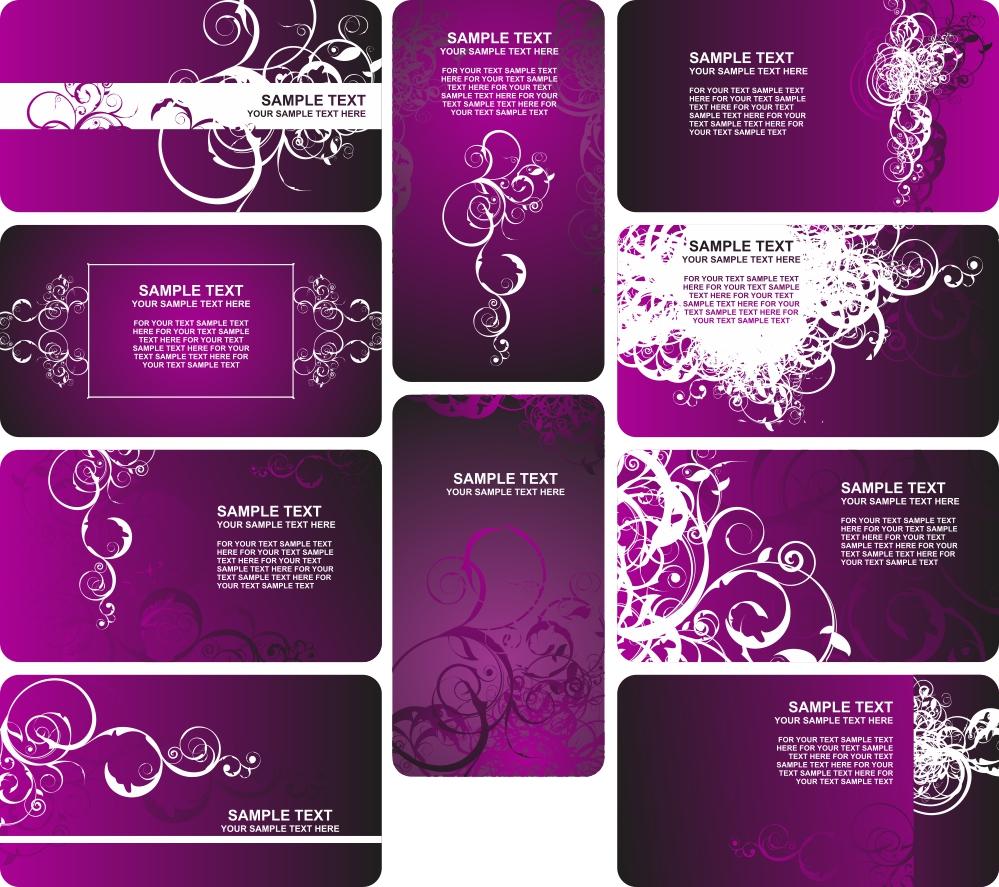 10 Desain Template Kartu Nama Keren Ungu / Violet