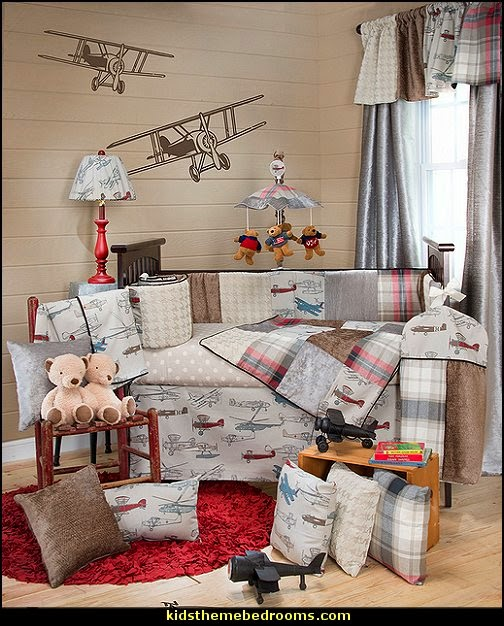 Vintage Airplane Nursery Decorating Ideas airplane theme bedroom - Aviation themed bedroom ideas - airplane bed - airplane murals - airplane room decor - Airplane rooms - airplane theme beds - airplane decor