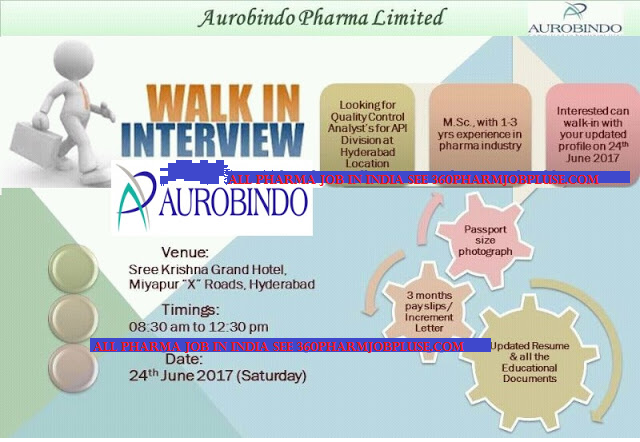 Pharma Walk In Interview in India: June 2017