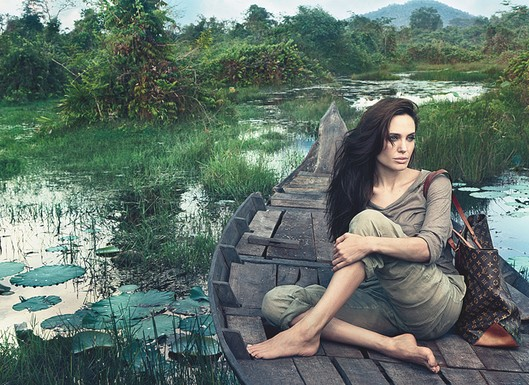 Angelina Jolie print ad for Louis Vuitton, shot by Annie Leibovitz