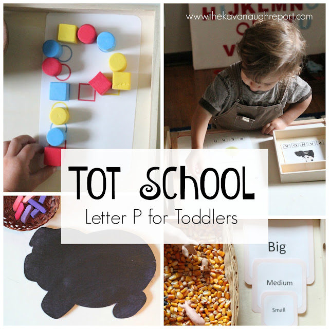 Tot school trays to explore the letter P. These easy to create ideas help toddlers learn to identify letters in a hands on, fun way.