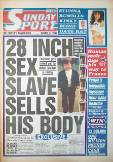 Front cover of the British Newspaper The Sunday Sport from 2nd October 1988
