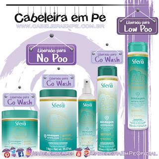 Shampoo (Low Poo), Condicionador, Spray Condicionante, Máscara e Hidratação Intensiva  Sfera Air Pocalipse - Nazca (Liberados para No Poo)