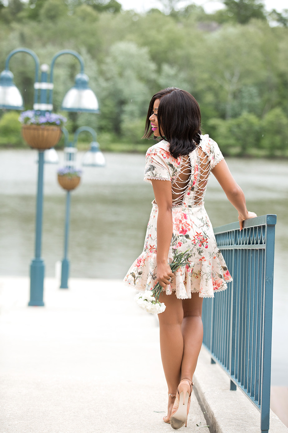 Zimmermann dress, floral dress, Kate spade drop earrings, www.jadore-fashion.com