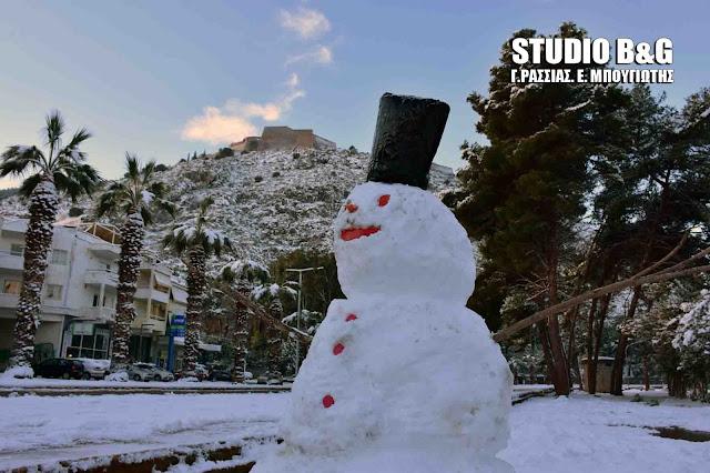 Ιστορική χιονόπτωση στο Ναύπλιο