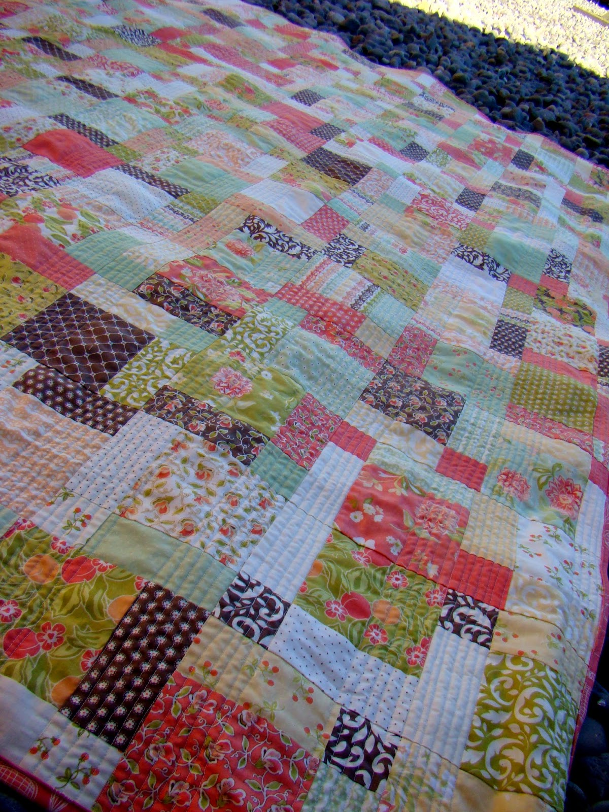 Happy Turtle Disappearing Nine Patch Quilt Finish