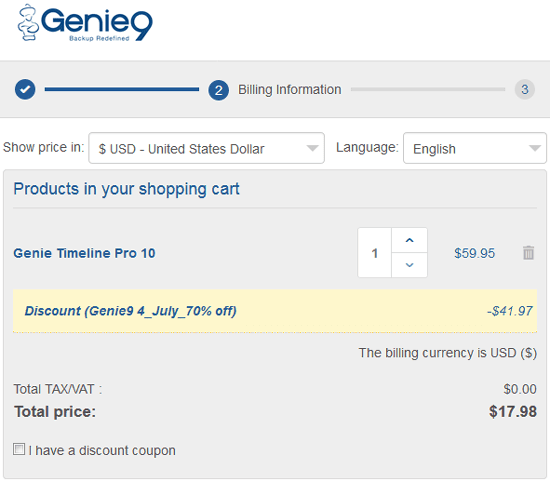 Genie Timeline Pro Coupon Discount 70%