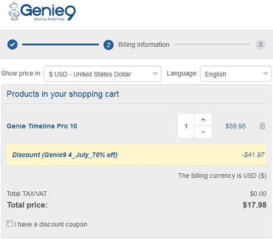Genie Timeline Pro Coupon Discount 80%