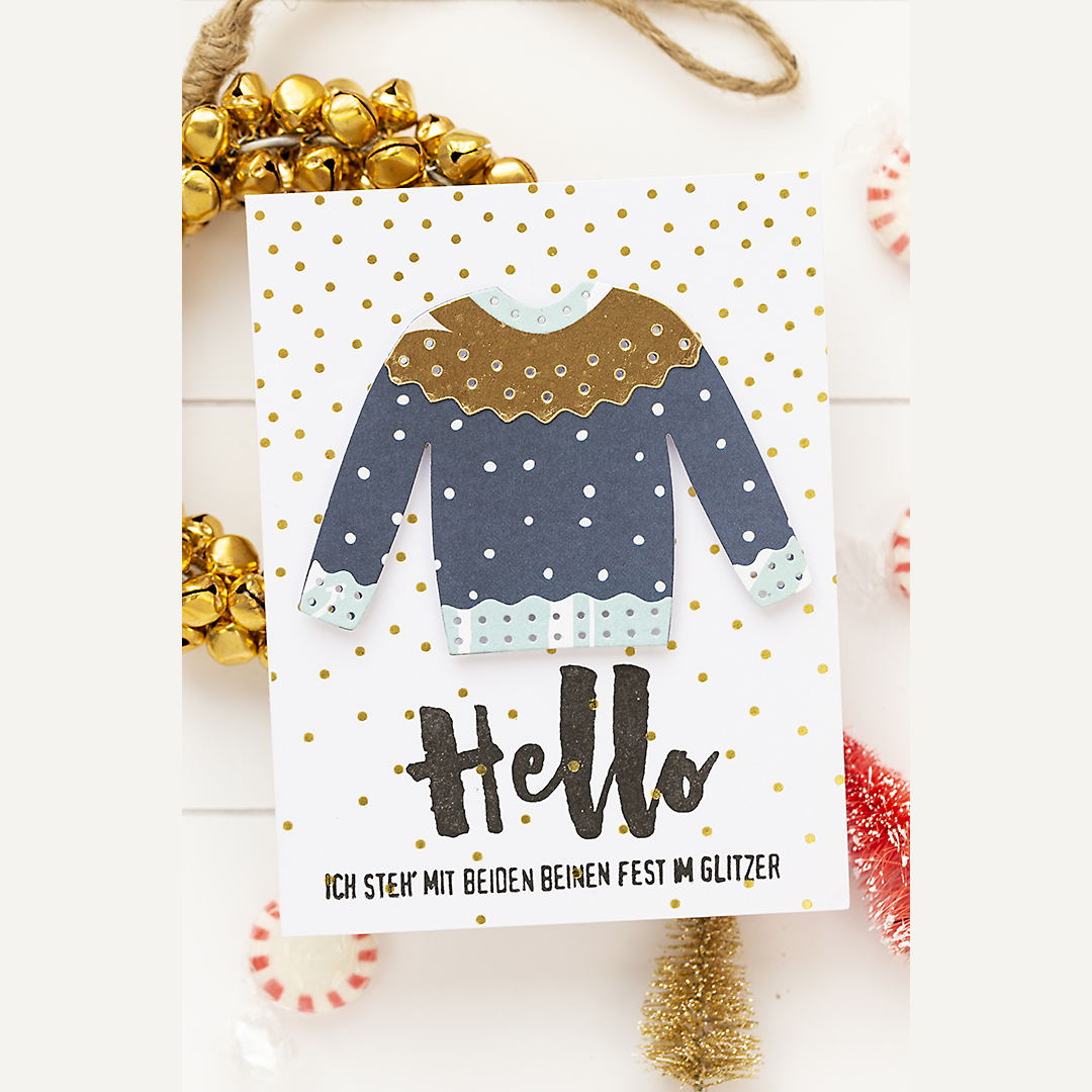 Merry Christmas card with sweater for you