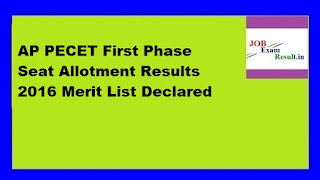 AP PECET First Phase Seat Allotment Results 2016 Merit List Declared