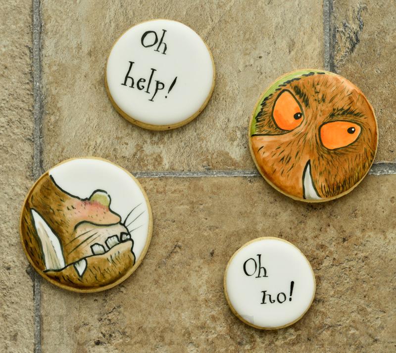 Handpaited 'Oh Help - Oh No!' Gruffalo decorated sugar cookies.