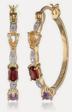 18k Yellow Gold Plated Sterling Silver Multi-Gemstone and Diamond Hoop Earrings