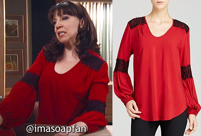 Liesl Obrecht, Kathleen Gati, Red Blouse with Black Lace Trim, Karen Kane, General Hospital, GH