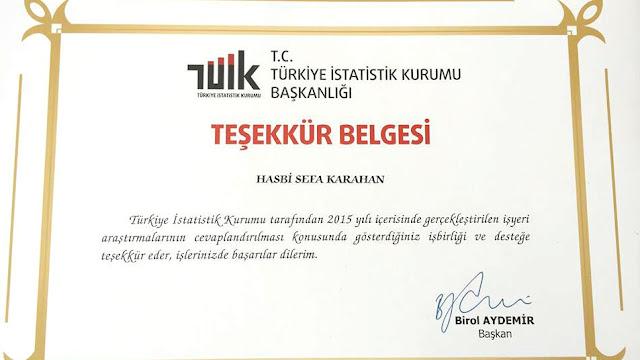 Türkiye İstatistik Kurumu Başkanlığı / Teşekkür Belgesi