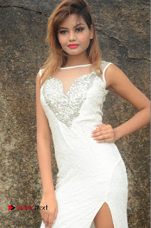 Actress Clara Farnandes Pictures in White Long Dress at Lovers Park Movie Opening  0008.JPG