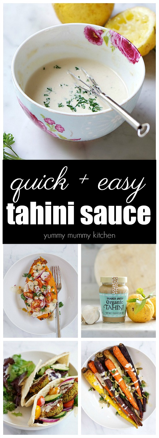 This simple tahini sauce recipe is naturally vegan, gluten free, and has no added oil. It ads delicious flavor to vegetables, wraps, and falafel pitas.